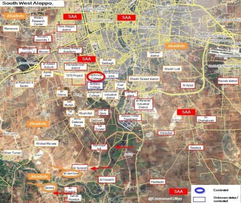 Khu vực Tây Nam của Aleppo trước ngày 2.9