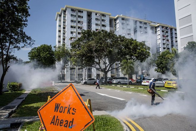 Phun thuốc diệt muỗi tại Singapore. (Nguồn: Getty Images)