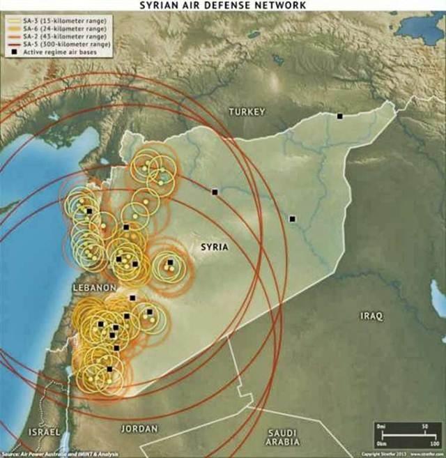 Cách bố trí và khu vực tiêu diệt mục tiêu trên không của các tổ hợp tên lửa phòng không Kvadrat, S-125M/S – 125M1A , S-75M/M3 và S-200 VE của Syria năm 2010 .