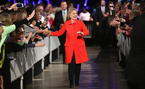 Ứng cử viên tổng thống Hillary Clinton trong một chuyến vận động cử tri năm 2016.
