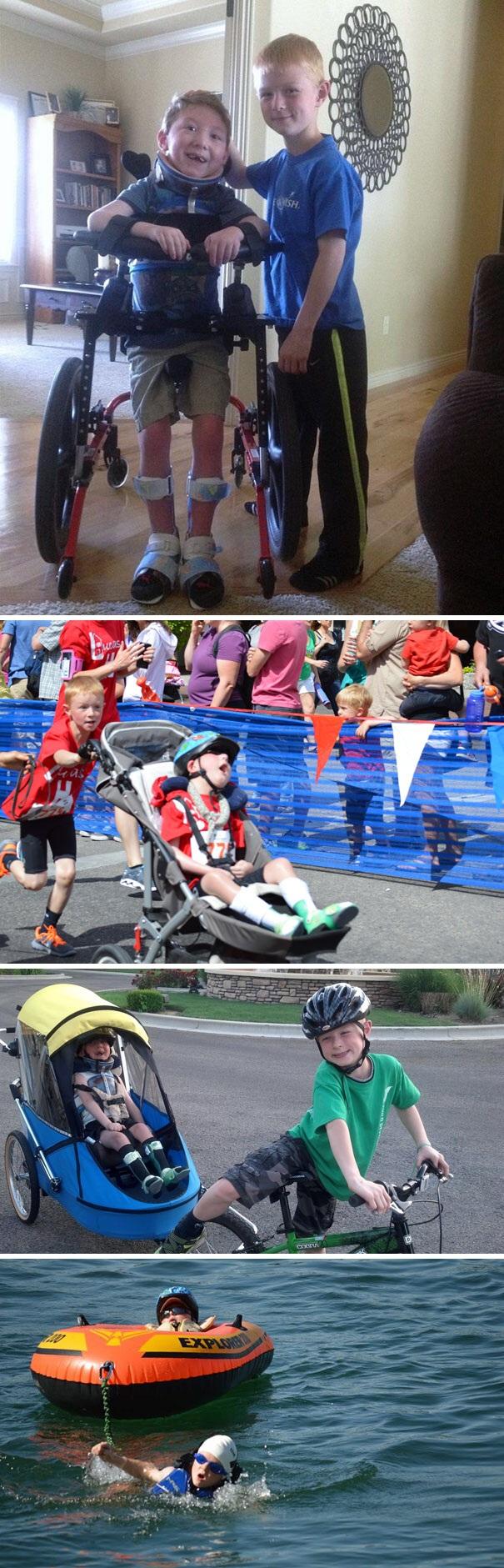 Cậu bé Noah 8 tuổi giúp người anh trai Lucas bị bại liệt của mình hoàn thành cuộc đua nhiều môn phối hợp.