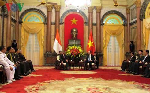Toàn cảnh buổi tiếp Bộ trưởng Bộ Quốc phòng Indonesia.