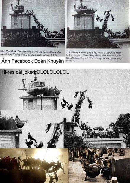 """Ảnh chế lấy ý tưởng từ cú đá trong bộ phim """"300 chiến binh"""" của nhóm Trương Huyền Đức."""