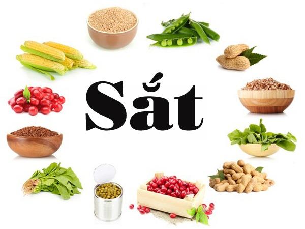 Sắt có nguồn gốc động vật dễ hấp thu hơn thực vật. Các thức ǎn giàu sắt là thịt đỏ (thịt bò, thịt lợn nạc), phủ tạng (tim, gan, cật...), hải sản, lòng đỏ trứng, các loại đậu, rau xanh đậm (bó xôi, ngót, dền, khoai lang, đay, bí, cải xoong, súp lơ), hoa quả (dưa hấu, dâu tây, chà là, đu đủ, chuối).