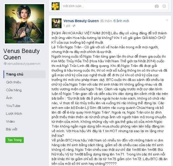 Facebook Venus Beauty Queen tố Lê Trần Ngọc Trân gian lận thi chui