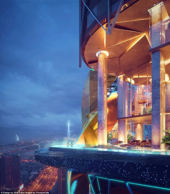 Một trong những điểm ngoạn mục nữa của thiết kế là hồ bơi vô cực, mở ngay bên ngoài các tầng nhà