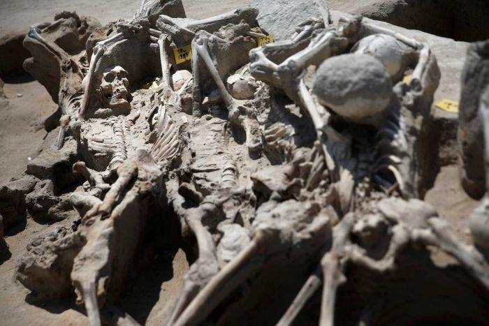 Tất cả bộ xương đều bị trói tay và chân