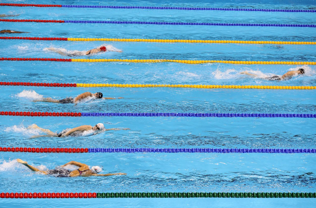 Bức ảnh cho thấy sự vượt trội của kình ngư vừa phá kỷ lục thế giới- Katie Ledecky.