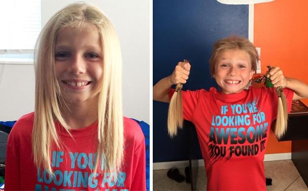 Cậu bé này đã quyết định nuôi tóc của mình trong vòng hai năm để dành tặng nó cho những trẻ em khác đang bị mắc bệnh ung thư.