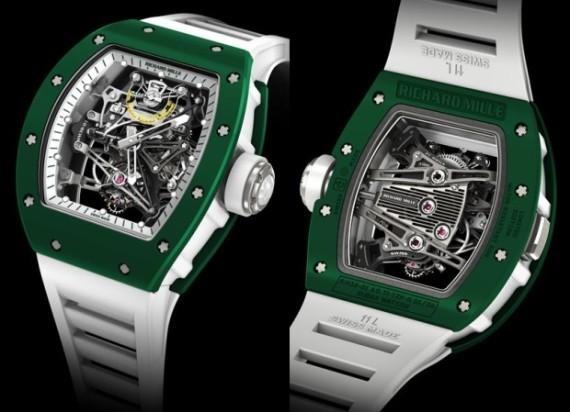RM 38-01 lấy cảm hứng từ Bubba Watson với ceramic màu xanh lá (TZP Ceramics) là màu rất hiếm, độ cứng cao, không trầy xước, nhẹ, bền và không bao giờ bị rỉ sét, lão hoá. Giá của chiếc đồng hồ này là hơn 19 tỷ đồng.