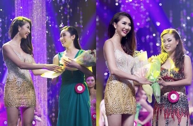 Siêu mẫu Ngọc Quyên trao giải cho thí sinh Ms. Elegant (Hoa hậu Phụ nữ Duyên dáng) Hazel Anh (SBD 05) và Mrs. Elegant (Hoa hậu Phu nhân Duyên dáng) Duyên Trần (SBD 06)