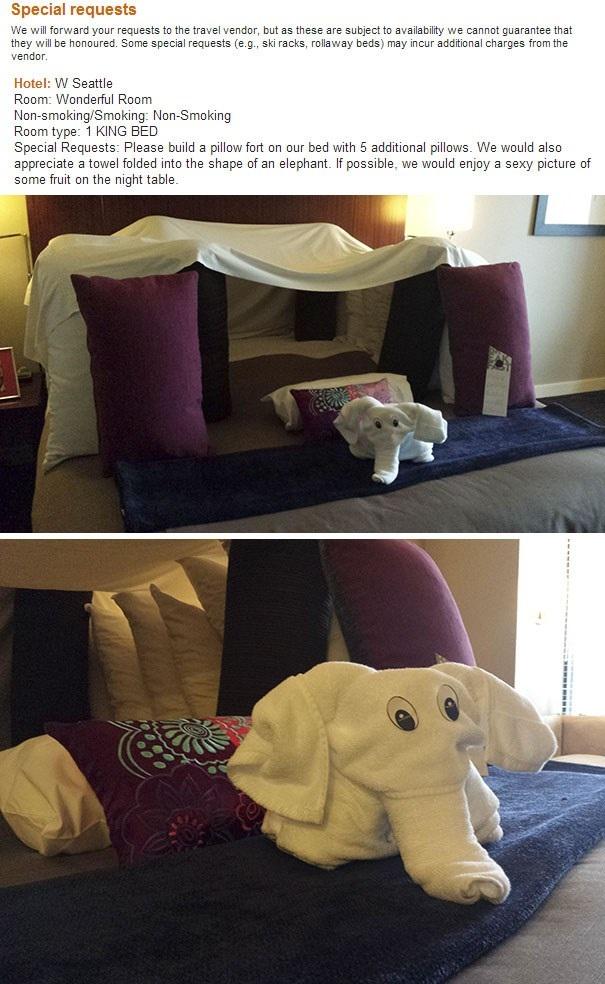 Khách hàng này yêu cầu một pháo đài bằng gối, cùng một chú voi bằng khăn tắm, và kết quả họ có được hẳn là vượt mức mong đợi. (Nguồn: boredpanda.com)