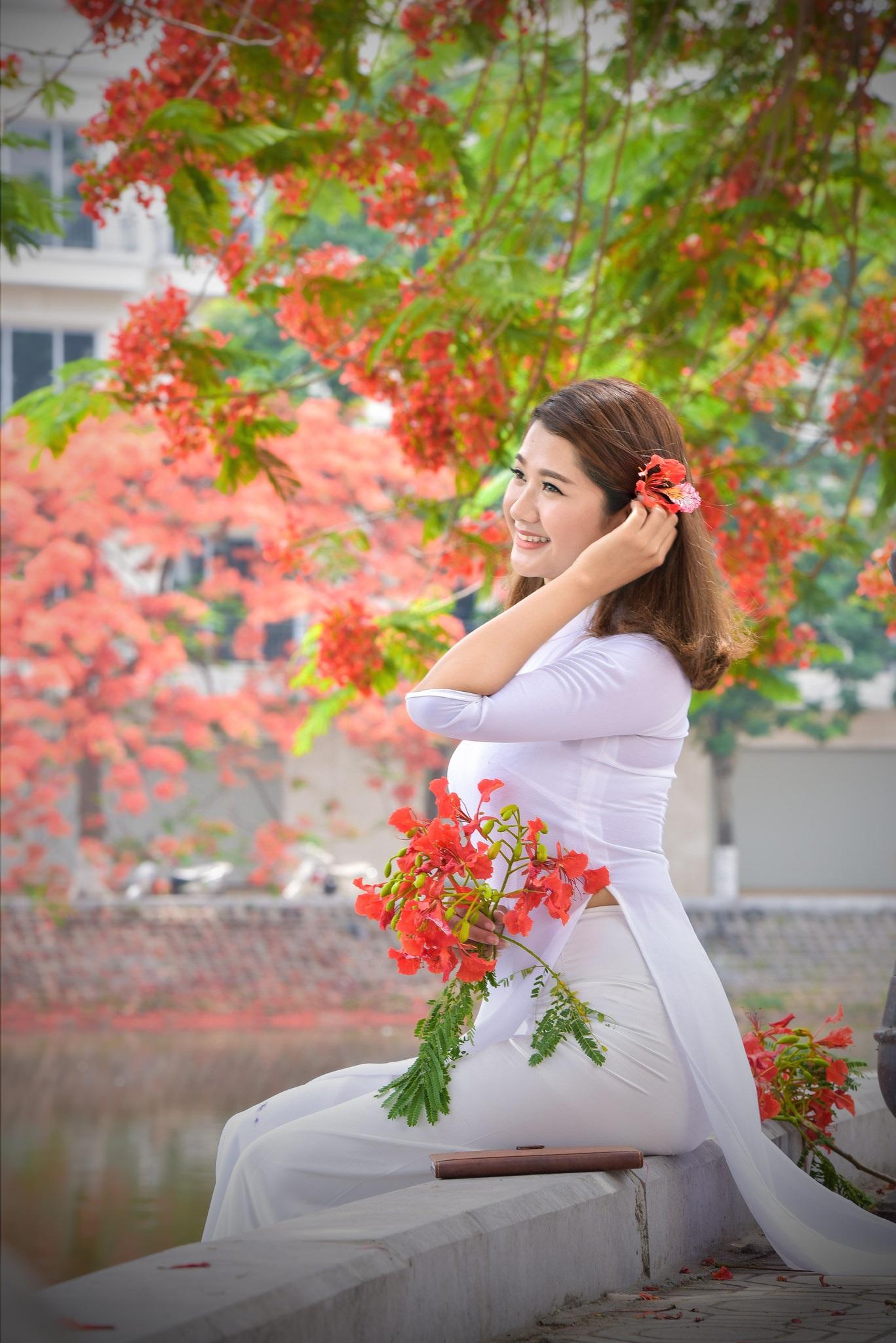 """Thiếu nữ Hà thành mơ màng bên hoa phượng """"rực cháy"""" - 2"""