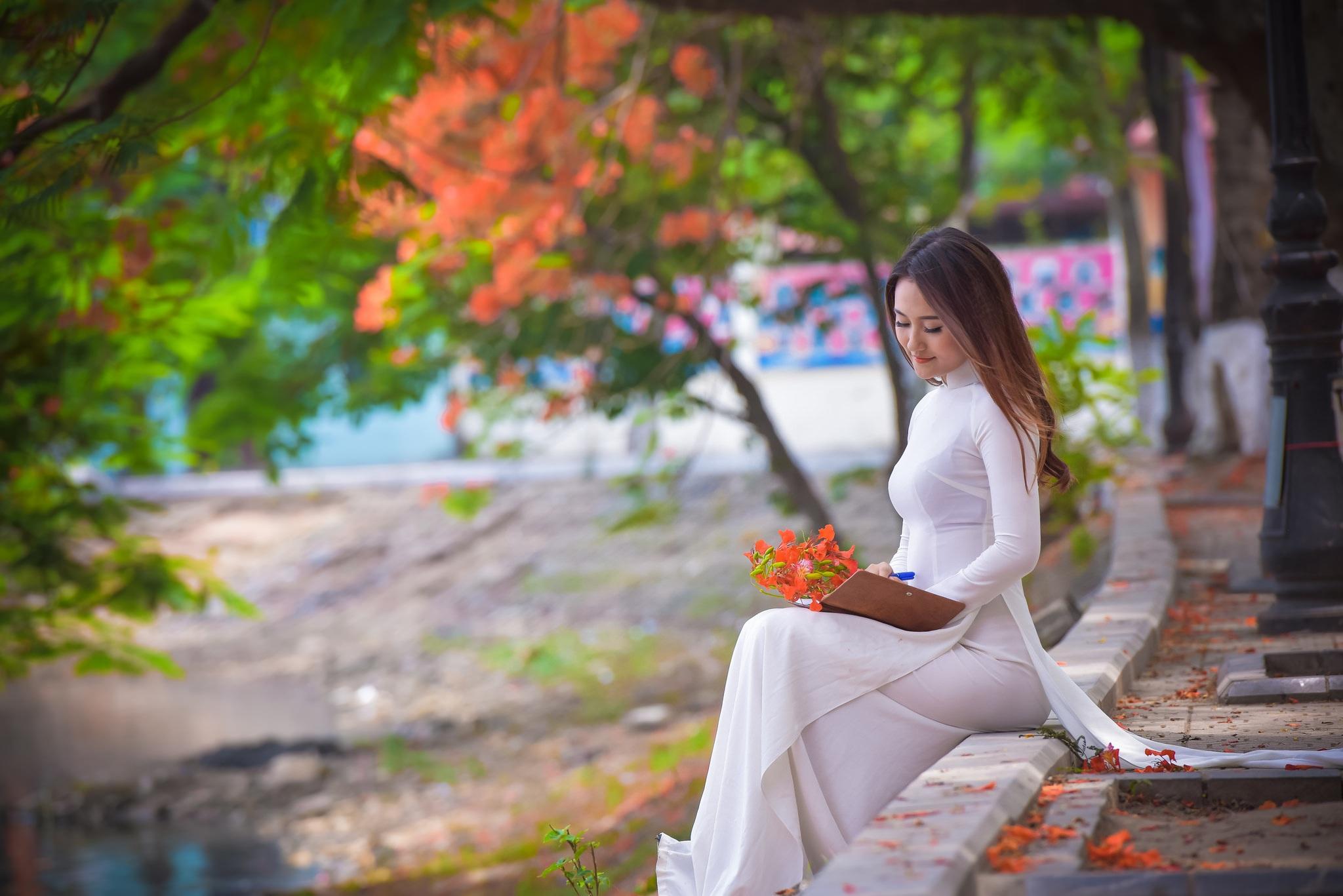 """Thiếu nữ Hà thành mơ màng bên hoa phượng """"rực cháy"""" - 3"""
