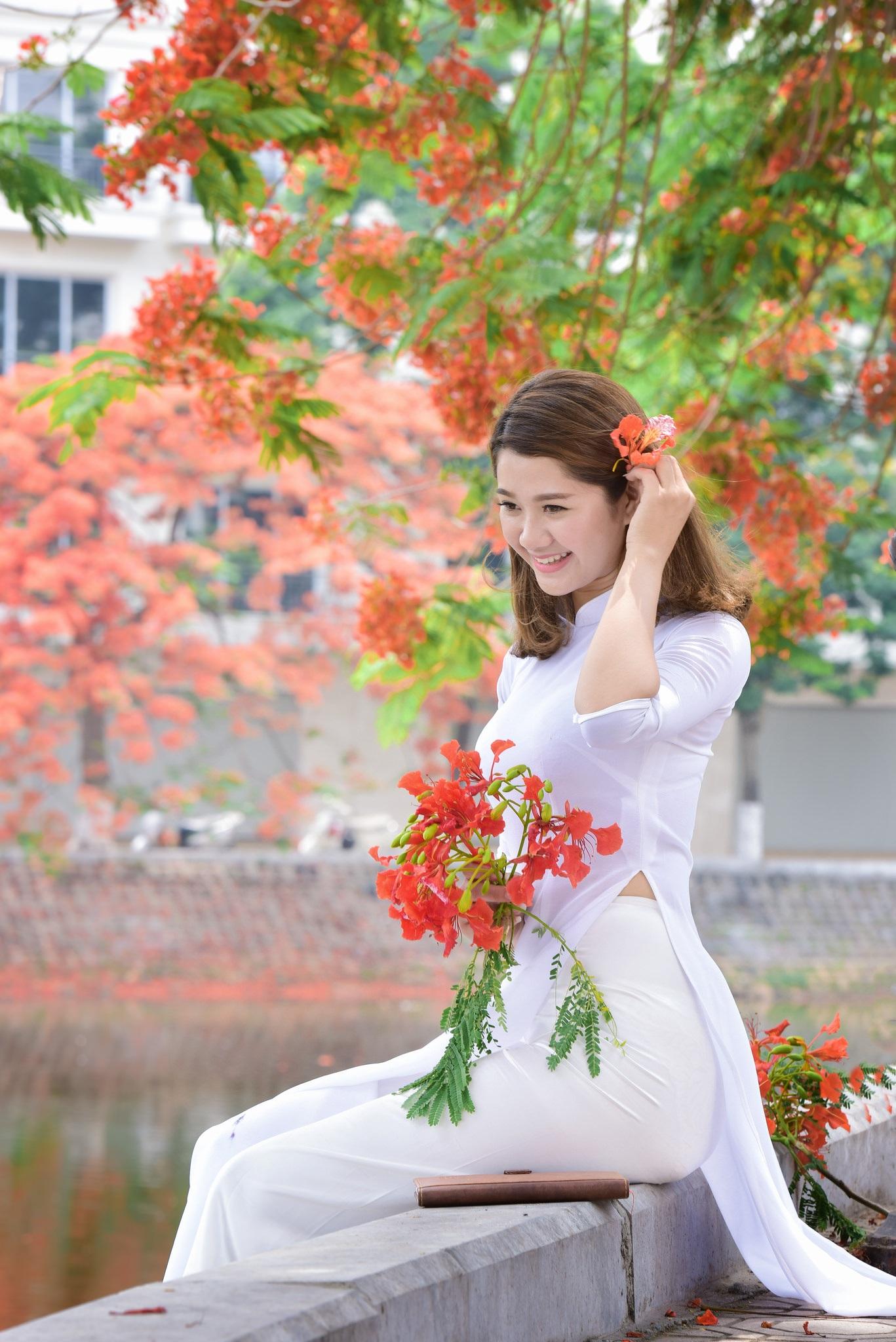 """Thiếu nữ Hà thành mơ màng bên hoa phượng """"rực cháy"""" - 12"""