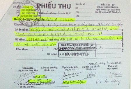 Phiếu thu hơn 1,3 tỷ đồng ông Nguyễn Trung Dũng ký nhận tiền của bà Loan việc đăng ký mua đất khu Thanh Hà A.