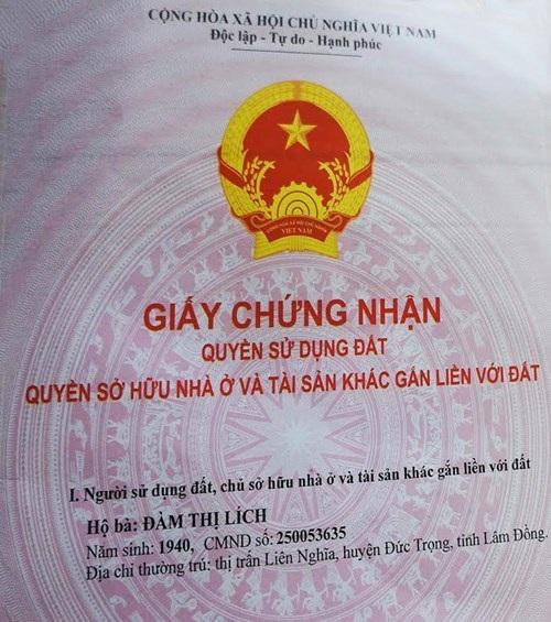 Bà Lích được cấp giấy chứng nhận QSD đất sau nhiều năm khiếu nại.
