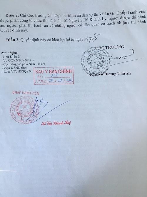 Sau sai phạm, Cục trưởng Cục thi hành án tỉnh Bình Thuận khắc phục hậu quả.