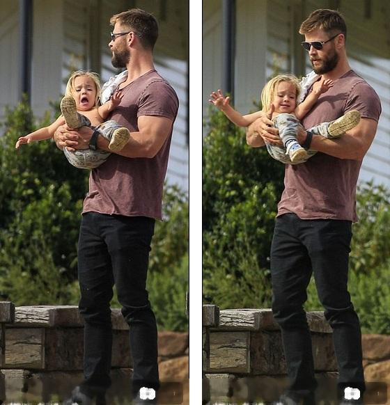 Chris Hemsworth - Ngôi sao thủ vai Thor trong bộ phim cùng tên đang dành nhiều thời gian để chăm sóc ba con nhỏ và người vợ hơn 7 tuổi