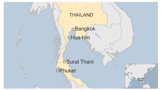 Các vụ nổ liên hoàn ở nhiều điểm du lịch nổi tiếng của Thái Lan. (Ảnh: BBC)