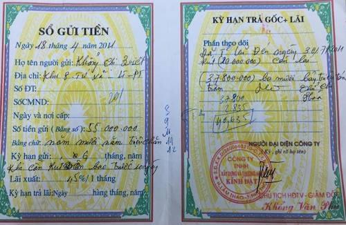Sổ gửi tiền là căn cứ để Công an tỉnh Phú Thọ cho rằng có việc lừa đảo tuy nhiên bà Hoà cho rằng hoàn toàn không đưa thông tin gian dối để huy động chiếm đoạt tiền.