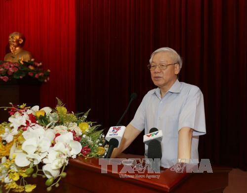 Tổng Bí thư Nguyễn Phú Trọng phát biểu kết luận Hội nghị (Ảnh: Trí Dũng - TTXVN)