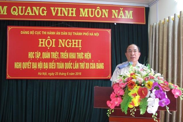 Ông Lê Quang Tiến – Bí thư Đảng ủy, Cục trưởng Cục Thi hành án dân sự Hà Nội