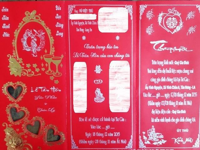 Thiệp mời đám cưới con trai ông Thù.