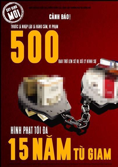 Áp phích tuyên truyền hình phạt cho việc buôn bán thuốc lá lậu