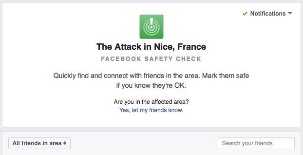 Ngay sau vụ tấn công vào đám đông xem pháo hoa dịp Quốc khánh Pháp tại thành phố Nice, chức năng Safety check đã được mạng xã hội lớn nhất thế giới kích hoạt.