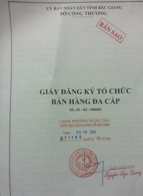 Sở Công thương Bắc Giang đã căn cứ vào một tài liệu vô giá trị để cấp phép kinh doanh đa cấp.