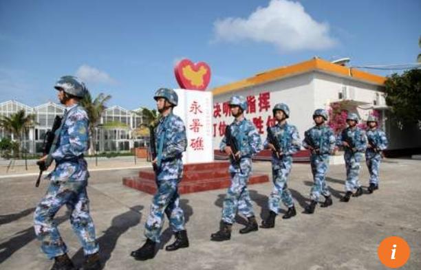 Hải quân Trung Quốc đồn trú trái phép trên Đá Chữ Thập thuộc Trường Sa của Việt Nam. (Ảnh: Reuters)