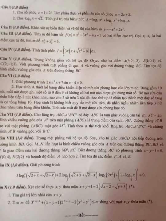 Đề thi và gợi ý đáp án chi tiết môn Toán kỳ thi THPTQG 2016 - 1