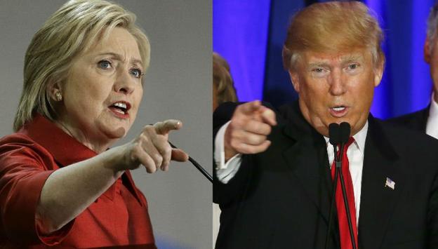 Ứng viên tổng thống đảng Dân chủ Mỹ Hillary Clinton (trái) và đối thủ Cộng hòa Donald Trump. (Ảnh: Getty)