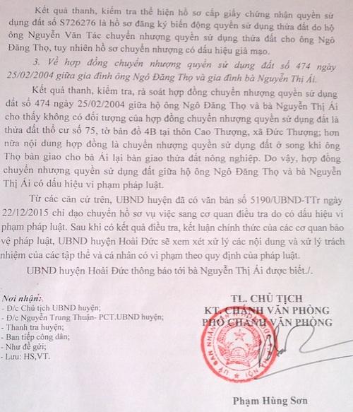 Bí ẩn về những cuốn sổ đỏ được cấp cho đất ma tại huyện Hoài Đức đã được giải đáp.