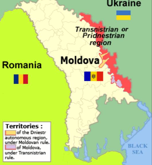 Transnistria nằm phần lớn trên một dải đất giữa sông Dniester và biên giới phía đông của Moldova với Ukraina.