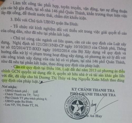 Đã gần nửa năm trôi qua từ khi Thanh tra TP Hà Nội đã chỉ ra hàng loạt sai phạm mờ ám trong việc cấp sổ đỏ và trật tự xây dựng tại nhà số 5 Đặng Dung dẫn đến vụ việc lù xum 146 Quán Thánh.