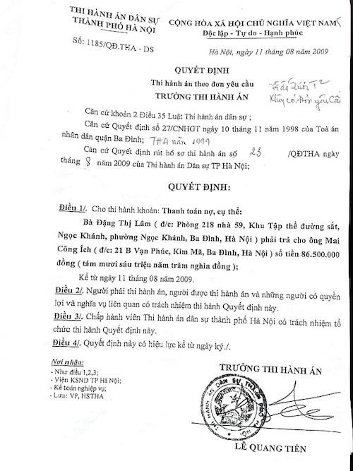 Luật sư Phan Thị Lam Hồng cho rằng 2 quyết định thi hành án theo yêu cầu được Cục thi hành án TP Hà Nội ban hành sau 10 năm khi người dân đã nộp tiền vào cơ quan thi hành án, xây nhà và sinh sống ổn định là không có căn cứ.