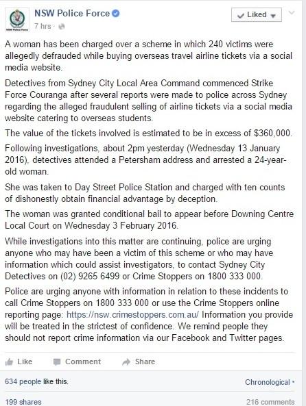 Bản thông cáo bắt được nghi phạm lừa đảo của cảnh sát bang New South Wales đang làm nức lòng cộng đồng DHS Việt tại Úc, đặc biệt là các nạn nhân vụ siêu lừa này.