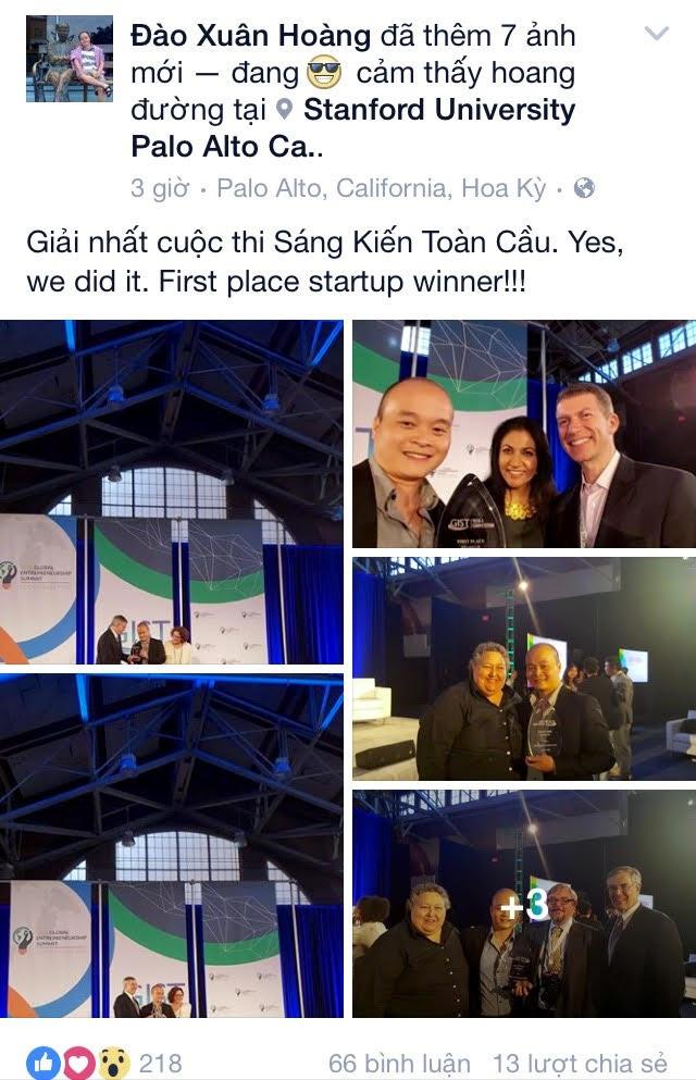 Xuân Hoàng chia sẻ niềm vui chiến thắng trên facebook cá nhân
