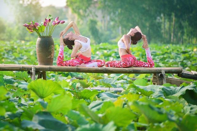 Tạo dáng yoga đẹp mắt bên hồ sen của cô gái Hà thành - 1
