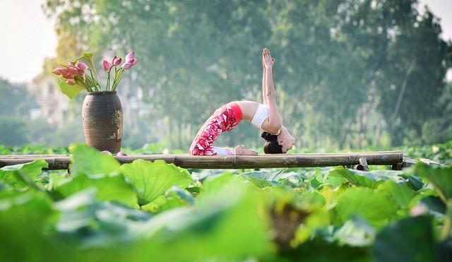 Tạo dáng yoga đẹp mắt bên hồ sen của cô gái Hà thành - 6