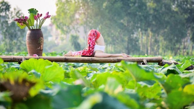 Tạo dáng yoga đẹp mắt bên hồ sen của cô gái Hà thành - 9