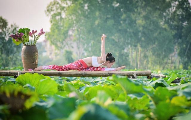 Tạo dáng yoga đẹp mắt bên hồ sen của cô gái Hà thành - 10
