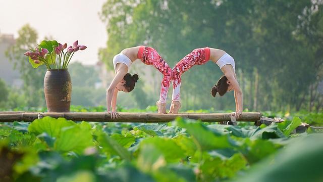Tạo dáng yoga đẹp mắt bên hồ sen của cô gái Hà thành - 12
