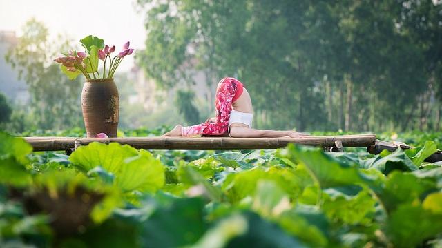Tạo dáng yoga đẹp mắt bên hồ sen của cô gái Hà thành - 15