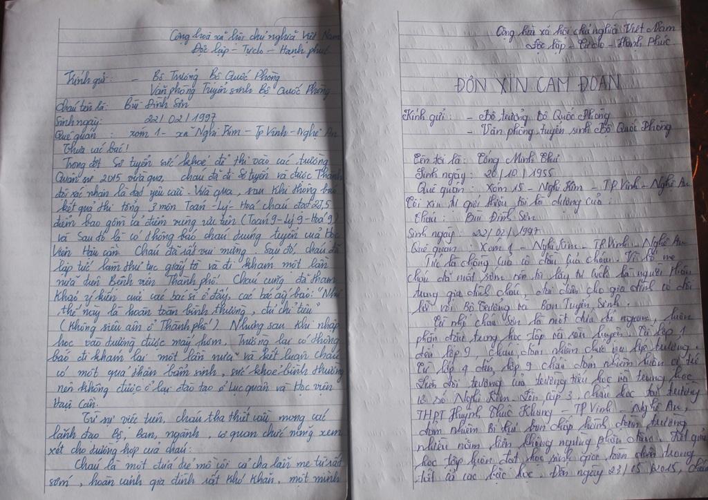 Bức tâm thư và bản cam đoan của Sơn và gia đình gửi Bộ Quốc phòng.