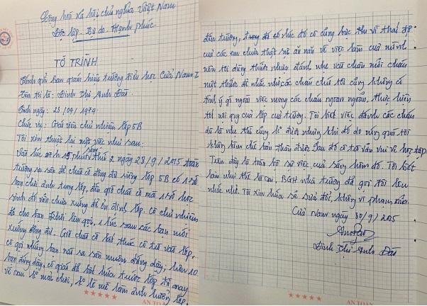 Tường trình của cô giáo Đinh Thị Anh Đào thừa nhận có dùng thước đánh học trò vì mong học sinh ngoan ngoãn.