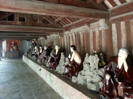 Các bức tượng La Hán với những dáng vẻ khác nhau