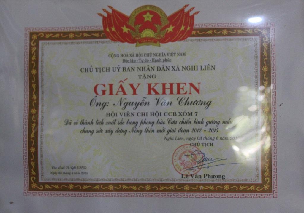 Sự ghi nhận của lãnh đạo xã Nghi Liên đối với hành động hiến đất làm đường giao thông nông thôn của cựu chiến binh Nguyễn Văn Chương.